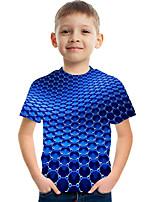 cheap -Kids Boys' Basic Street chic Color Block 3D Print Short Sleeve Tee Blue