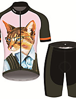 cheap -21Grams Men's Short Sleeve Cycling Jersey with Shorts Pink / Black Cat Animal Bike Clothing Suit UV Resistant Breathable 3D Pad Quick Dry Sweat-wicking Sports Cat Mountain Bike MTB Road Bike Cycling