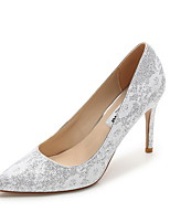 cheap -Women's Wedding Shoes Stiletto Heel Pointed Toe Cowhide Spring & Summer Gold / Silver