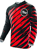 cheap -21Grams Men's Long Sleeve Cycling Jersey Downhill Jersey Dirt Bike Jersey 100% Polyester Black / Red Bule / Black Black / Yellow Stripes Bike Jersey Top Mountain Bike MTB Road Bike Cycling UV