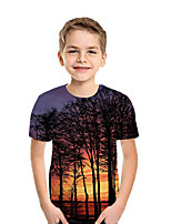 cheap -Kids Boys' Active Street chic Print Patchwork Print Short Sleeve Tee Dark Gray