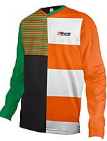 cheap -21Grams Men's Long Sleeve Cycling Jersey Downhill Jersey Dirt Bike Jersey 100% Polyester Black / Orange Stripes Bike Jersey Top Mountain Bike MTB Road Bike Cycling UV Resistant Breathable Quick Dry