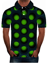 cheap -Men's Daily Going out Street chic / Exaggerated Polo - Color Block / 3D / Graphic Green