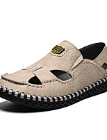 cheap -Men's Fall Casual Daily Outdoor Sandals Cowhide Breathable Non-slipping Shock Absorbing Light Brown / Black / Brown