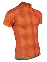cheap -21Grams Men's Short Sleeve Cycling Jersey 100% Polyester Red Orange Blue Plaid / Checkered Bike Jersey Top Mountain Bike MTB Road Bike Cycling UV Resistant Breathable Quick Dry Sports Clothing Apparel