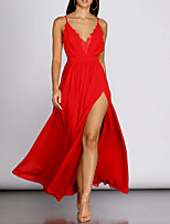 cheap -A-Line V Neck Floor Length Polyester Sexy / Red Prom / Holiday Dress with Pleats / Split 2020