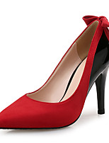 cheap -Women's Heels Stiletto Heel Pointed Toe Bowknot Suede / Patent Leather Classic / Minimalism Spring & Summer Almond / Red / Color Block