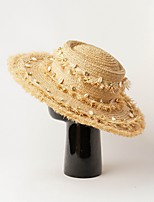 cheap -Straw Hats with Cap 1 Piece Wedding Headpiece