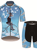 cheap -21Grams Men's Short Sleeve Cycling Jersey with Shorts Black / Blue Animal Deer Bird Bike Clothing Suit UV Resistant Breathable 3D Pad Quick Dry Sweat-wicking Sports Animal Mountain Bike MTB Road Bike