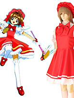 cheap -Inspired by Cardcaptor Sakura Kinomoto Sakura Anime Cosplay Costumes Japanese Cosplay Suits Dress Gloves Bow For Women's / Cap