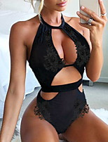 cheap -Women's Backless Suits Nightwear Solid Colored Black M L XL