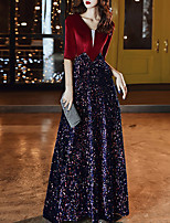 cheap -A-Line V Neck Floor Length Sequined / Velvet Glittering / Red Prom / Formal Evening Dress with Sequin 2020