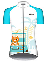 cheap -21Grams Women's Short Sleeve Cycling Jersey 100% Polyester Blue / White Animal Bike Jersey Top Mountain Bike MTB Road Bike Cycling UV Resistant Breathable Quick Dry Sports Clothing Apparel / Stretchy