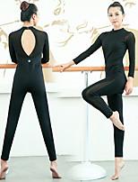 cheap -Women's Aerial Yoga Jumpsuit Gymnastics Leotards Winter Black Elastane Ballet Dance Gymnastics Dancewear Sport Activewear Breathable Soft Stretchy