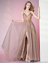 cheap -A-Line Spaghetti Strap Floor Length Tulle Luxurious / Pink Prom / Formal Evening Dress with Beading / Crystals 2020