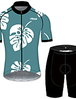 cheap -21Grams Men's Short Sleeve Cycling Jersey with Shorts Mint Green Floral Botanical Bike UV Resistant Quick Dry Sports Patterned Mountain Bike MTB Road Bike Cycling Clothing Apparel / Stretchy