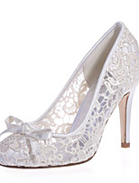 cheap -Women's Wedding Shoes Stiletto Heel Round Toe Sweet Wedding Party & Evening Lace Bowknot Floral White Black Pink