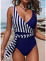 cheap -Women's Black Wine Blue Bikini Swimwear Swimsuit - Striped S M L Black