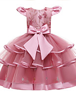 cheap -Kids Girls' Active Cute Patchwork Solid Colored Peplum Sequins Beaded Sleeveless Knee-length Dress Blushing Pink