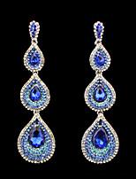 cheap -Women's Cubic Zirconia Earrings Pear Cut Drop Sweet Oversized Earrings Jewelry Purple / Green / Blue For Wedding Party 1 Pair