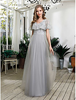 cheap -A-Line Grey Prom Formal Evening Dress V Neck Short Sleeve Floor Length Tulle Sequined with Sequin 2020