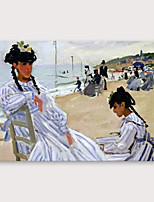 cheap -IARTS®Hand Painted Beach Oil Painting   with Stretched Frame For Home Decoration