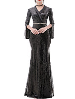 cheap -Sheath / Column V Neck Floor Length Polyester Elegant / Black Engagement / Formal Evening Dress with Sequin 2020
