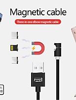 Недорогие -Micro USB / Подсветка / Type-C Кабель 2 A 1.0m (3FT) От 1 до 3 холст Адаптер USB-кабеля Назначение Huawei / Xiaomi / iPhone