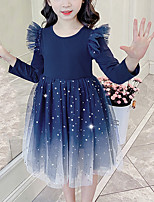 cheap -Kids Girls' Cute Blue Galaxy Solid Colored Mesh Patchwork Long Sleeve Knee-length Dress Royal Blue