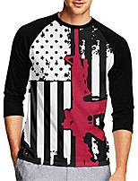 cheap -21Grams Men's Long Sleeve Cycling Jersey Downhill Jersey Dirt Bike Jersey 100% Polyester Black / White American / USA National Flag Bike Jersey Top Mountain Bike MTB Road Bike Cycling UV Resistant