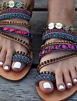 cheap -Women's Sandals Boho Flat Heel Round Toe PU Summer Black