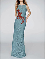 cheap -Sheath / Column Floral Turquoise / Teal Engagement Formal Evening Dress Jewel Neck Sleeveless Floor Length Lace with Split Appliques 2020