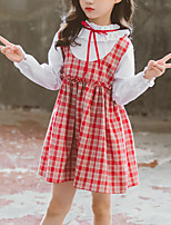 cheap -Kids Girls' Cute Color Block Plaid Ruched Patchwork Long Sleeve Above Knee Dress Blushing Pink