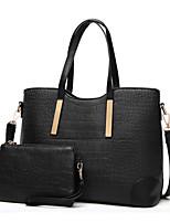 cheap -Women's Zipper PU Bag Set Crocodile 2 Pieces Purse Set Black / White / Sky Blue