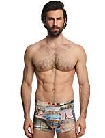 cheap -Men's Print Briefs Underwear Mid Waist Green M L XL