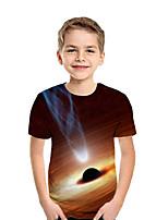 Недорогие -Дети Мальчики Активный Уличный стиль Геометрический принт Контрастных цветов 3D С короткими рукавами Футболка Коричневый