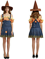 cheap -Scarecrow Outfits Adults' Women's Halloween Halloween Festival / Holiday Polyster Blue Women's Carnival Costumes / Dress / Hat