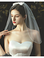 cheap -One-tier Cute Wedding Veil Shoulder Veils with Satin Bow / Solid 23.62 in (60cm) Tulle