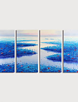 cheap -Hand Painted Canvas Oilpainting Abstract Landscape set of 4 by Knife Home Decoration with Frame Painting Ready to Hang