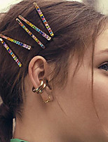 cheap -Women's Hairpins For Party / Evening Masquerade Street Party & Evening U Shape Color Block Rhinestone Gold Plated Alloy Rainbow 1pcs
