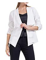 cheap -Women's Blazer, Solid Colored Notch Lapel Polyester Wine / Blue / White