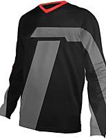cheap -21Grams Men's Long Sleeve Cycling Jersey Downhill Jersey Dirt Bike Jersey 100% Polyester Black / Orange Black / Green Bike Jersey Top Mountain Bike MTB Road Bike Cycling UV Resistant Breathable Quick