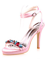 cheap -Women's Wedding Shoes Stiletto Heel Open Toe Rhinestone Satin Minimalism Spring & Summer White / Purple / Red / Party & Evening