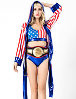 cheap -Boxer Coat Cosplay Costume Outfits Adults' Women's Cosplay Halloween Halloween Festival / Holiday Polyster Blue Women's Carnival Costumes / Top / Belt / Shorts / Sash / Ribbon