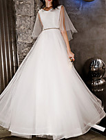 cheap -A-Line V Neck Floor Length Lace / Tulle Glittering / White Engagement / Prom Dress with Beading / Crystals 2020