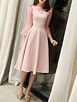 cheap -A-Line Elegant Pink Party Wear Cocktail Party Dress High Neck 3/4 Length Sleeve Tea Length Spandex with Pleats 2020
