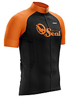 cheap -21Grams Men's Short Sleeve Cycling Jersey 100% Polyester Black / Orange Patchwork Bike Jersey Top Mountain Bike MTB Road Bike Cycling UV Resistant Breathable Quick Dry Sports Clothing Apparel