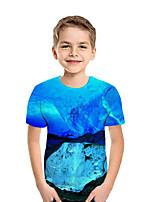 cheap -Kids Boys' Active Street chic Geometric 3D Patchwork Print Short Sleeve Tee Royal Blue