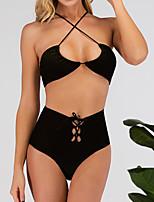 cheap -Women's Basic Black Brown Green Halter High Waist Tankini Swimwear Swimsuit - Solid Colored S M L Black