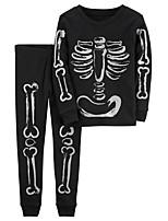 cheap -Kids Toddler Boys' Active Boho Daily Daily Wear Geometric Print Long Sleeve Clothing Set Black